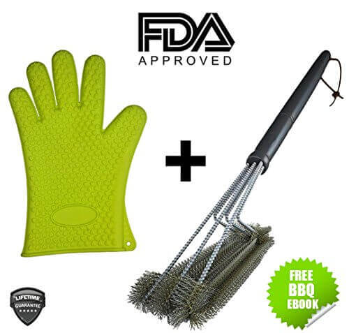Best BBQ Grill Brush + Heat Resistant Silicone Kitchen Glove Set. 18″ w/ 3 Stainless Steel Barbecue Brushes Smoker Cleaner Outdoor Cooking Tools with Protective Grilling Oven Mitts Utensils