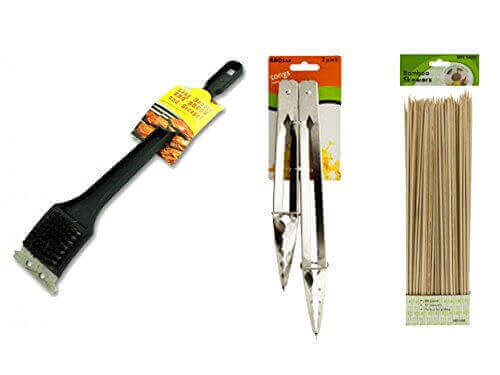 BBQ Grill Brush And Scraper Tongs Barbecue tool set Silicone Outdoor Cooking Utensils Cleaning Tools And Accessories Grilling Bamboo Skewers Pull Toss Food