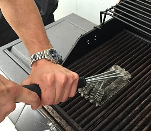 Snillingur #1 BBQ Grill Brush for Gas Grills – 18″ Long, 3 in 1 Stainless Steel Woven Mesh for Cleaning Charcoal, Smokers, BBQ – Indoor or Outdoor Use – Safe, Effective Scrub Brush