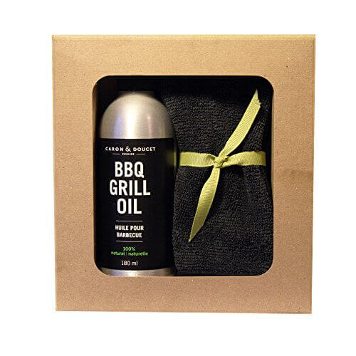 Caron & Doucet – BBQ Gift Set Bundle: 2 Items – 1 BBQ Grill Oil & 1 Microfiber Cloth, Fathers day gift
