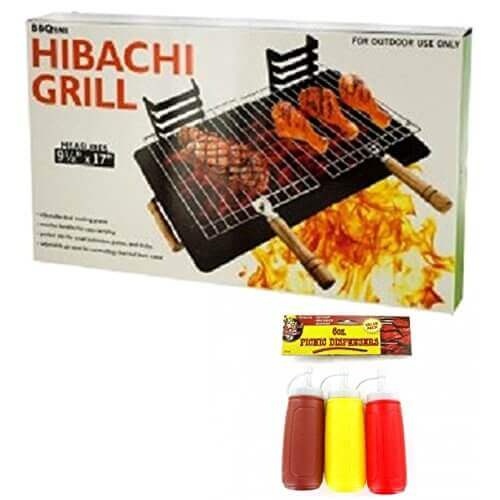 Small Charcoal Hibachi Grill Plus Condiment Dispensers