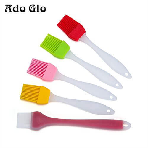 Ado Glo Silicone Basting & Pastry Brush Set of 5 – For BBQ Meat, Cakes & Pastries – Food Grade Kitchen Sauce Brush, BPA Free and FDA Approved – Heatproof and Easy Clean – Small