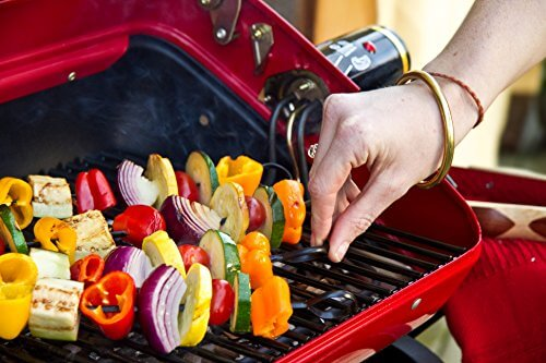 Easy Street Electric Cart Grill with two polymer side tables and wire shelf