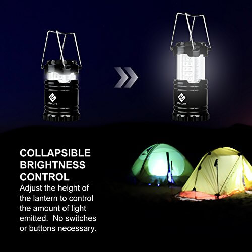 Etekcity 4 Pack Portable Outdoor LED Camping Lantern with 12 AA Batteries (Black, Collapsible)