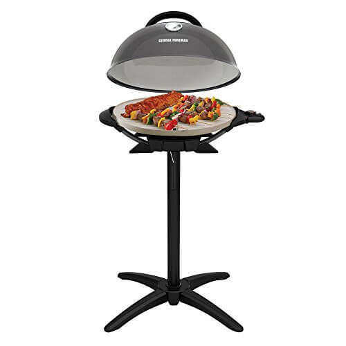 George Foreman GFO3320GM Indoor/Outdoor Gun Metal Electric Grill, Silver