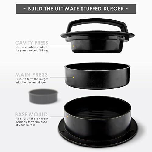 Stuffed Burger Press with 20 FREE Burger Patty Papers – 3 in 1 Burger Press / Slider Press / Hamburger Maker – By MiiKO