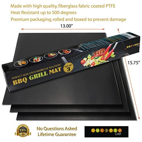 Nonstick BBQ Grill Mat – Perfect for Charcoal, Electric and Gas Grill – Reusable, Easy to Clean – Set of 3 Mats – Essential Grilling Accessories for Home Cooks and Grillers