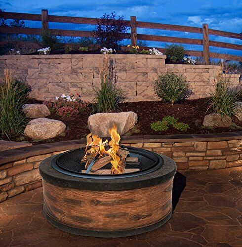 Rustic Brown Wood Burning Fire Pit 35″ Diameter Steel Base w/ 26″ Mesh Screen Spark Protector w/ Lift Hook, Large Heat Resistant Fire Bowl, Appealing Rustic Wood Simulated Base