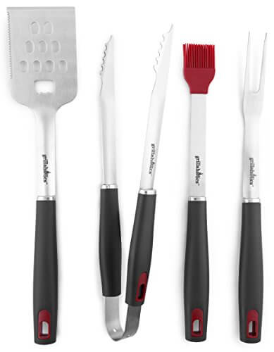 Grillaholics Grill Set – 4-Piece BBQ Tools – Heavy Duty Stainless-Steel Barbecue Grilling Utensils – Premium Grilling Accessories for Barbecue – Spatula, Tongs, Fork, and Basting Brush