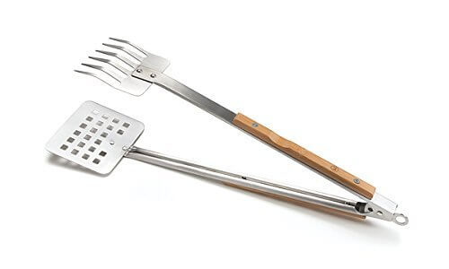 Outset QV57 Verde Multipurpose Stainless-Steel Claw-Style Barbecue Tongs with Bamboo Handles, Model: QV57, Home & Garden Store