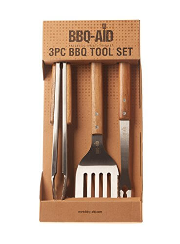 3 piece BBQ grilling accessories set – bbq tongs spatula fork set – Heavy Duty Stainless Steel Barbecue grill Tools with Solid Hard Wood Handles Great bbq Gift set