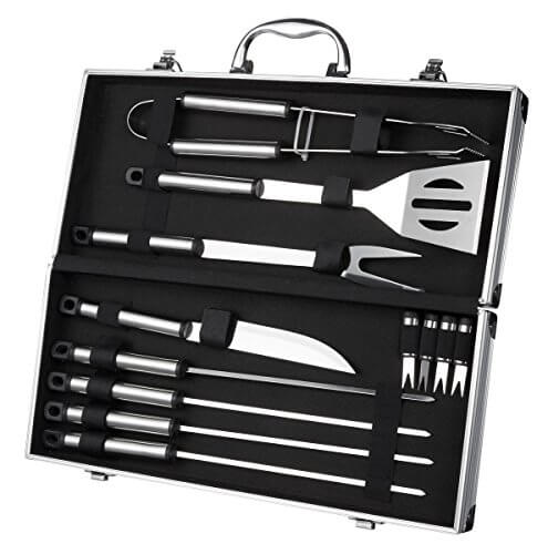 BBQ Grill Tools with Carrying Case – Stainless Steel Tools – Complete Barbeque Kit – with Tongs, Spatula, Fork, Knife, Corn Holders, Skewers – 12 Piece Set