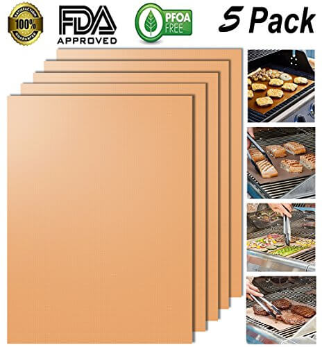 Looch Gold Grill Mat Set of 5- 100% Non-stick BBQ Grill & Baking Mats – FDA-Approved, PFOA Free, Reusable and Easy to Clean – Works on Gas, Charcoal, Electric Grill and More – 15.75 x 13 Inch