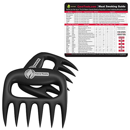 Wood Smoking Chart + Pulled Pork Shredder Claws – BEST BBQ MEAT FORKS – Shredding Handling & Carving Any Size Food – Claw Handler Set for Pulling Brisket from Barbecue Grill Smoker or Slow Cooker