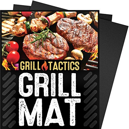 Grill Tactics Grill Mat (Set of 3) – Heavy-Duty Non-Stick BBQ & Grilling Sheet – This Best Rated Grill Pad Works With Gas, Electric, Charcoal Grills, and More – 15.75 x 13 Inch