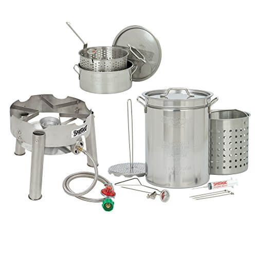 Bayou Classic 32 Quart Complete Stainless Steel Deluxe Turkey Fryer Kit With 10 Quart Fry Pot