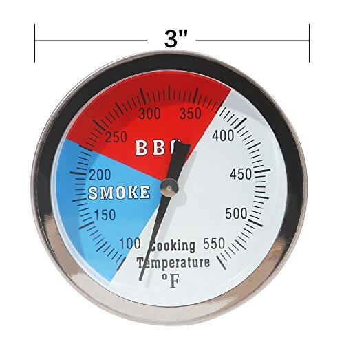 SHINESTAR 3″ 550F BBQ Charcoal Grill Pit Wood Smoker Temp Gauge Grill Thermometer With 3″ Stem SS RWB -Fahrenhite 100 to 550F (1 Pack)