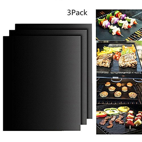 Otedes BBQ Grill Mat ,Set of 3 100% Non-Stick Grilling Mats- Barbecue Grill Mats-For Gas, Electric, Microwave & Toaster Ovens ,15.75 x 13 Inches