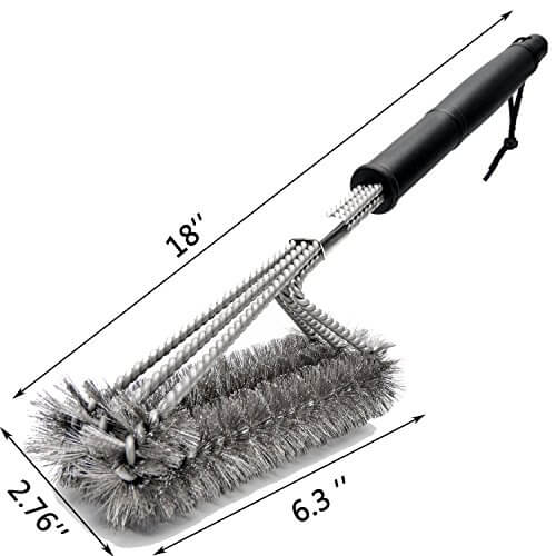 BBQ Grill Brush,Preon 18 Inches 3 in 1 Stainless Steel Best Barbecue Grill Cleaning Brush,Durable and Effective – 100% Rust Proof with Wire Bristles & Long Handle & Strength Clip