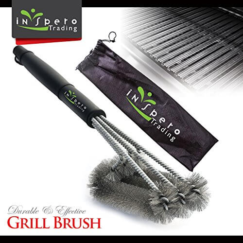BBQ Grill Brush, Inspero Triple Brush Barbeque Grill Cleaner, Stainless Steel Bristles, Long 18'' Inch Handle, Durable, Unbreakable, Remove Grime Efficiently, Keep Grill Grates Clean Like New