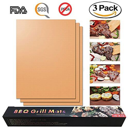 Copper Grill Mat Set of 3 – Reusable PTFE Coated Non-stick BBQ Grill & Baking Mats – Works on Gas, Charcoal, Electric Grill and More – As Seen on TV