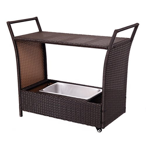 Giantex Patio Rolling Rattan Kitchen Trolley Cart Dining Aluminum Frame With Storage Box