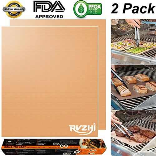 RVZHI Copper Grill Mat Set of 2 – Non-stick BBQ Grill & Baking Mats – FDA Approved, PFOA Free, Reusable and Easy to Clean – Works on Gas, Charcoal, Electric Grills – 15.75 x 13 inches