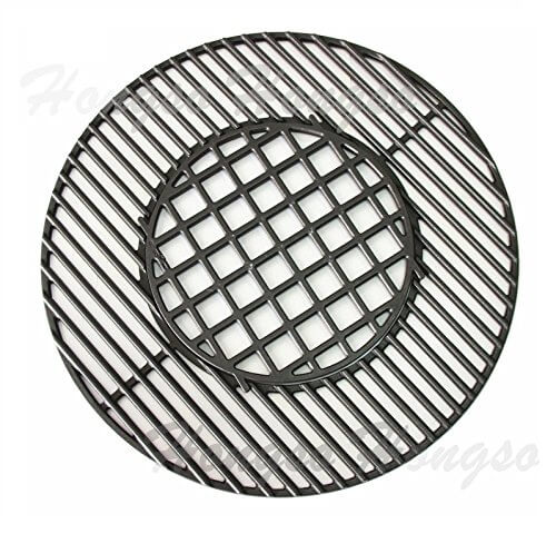 Hongso PCH835 Cast Iron Gourmet BBQ System Hinged Cooking Grate Replacement for Weber, fits 22-1/2-inch Weber charcoal grills