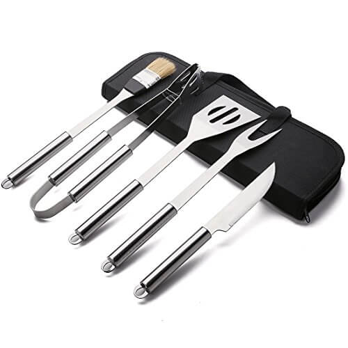 Desir BBQ Tool Set,5-Piece,18-Piece,22-Piece Stainless Steel BBQ Barbecue Grill Tool Set (5 pieces in bag)