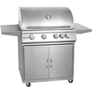 Blaze BLZ-4-NG + BLZ-4-CART 32″ Grill on Cart with 4 Commercial Quality 304 Cast Stainless Steel Burners 66 000 Total BTUs and 740 Square Inches of Total Cooking Space in Stainless Steel: Natural