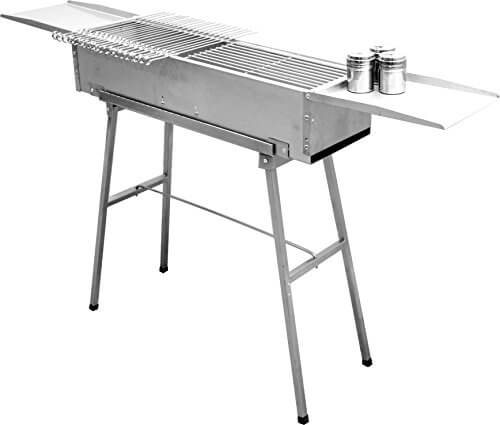32″ deluxe stainless charcoal kebab grill – 9 inch wide with 20 stainless skewers