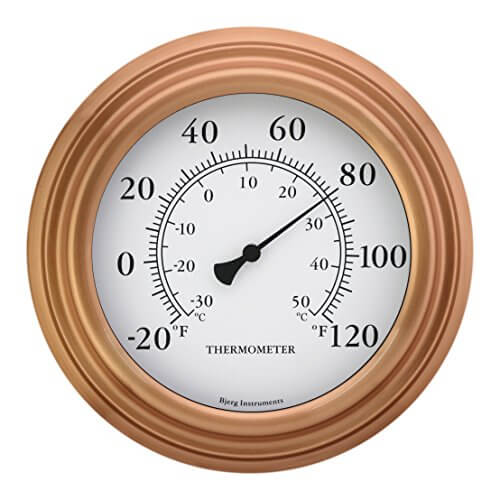 8″ Copper Finish Decorative Indoor / Outdoor Patio Wall Thermometer