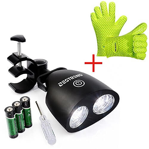 LED BBQ Grill Light-Zestrend Waterproof Outdoor Barbecue Grill Lighting Kit with 360°Rotation Handle Mount and Heat Resistant Waterproof Silicone BBQ Gloves