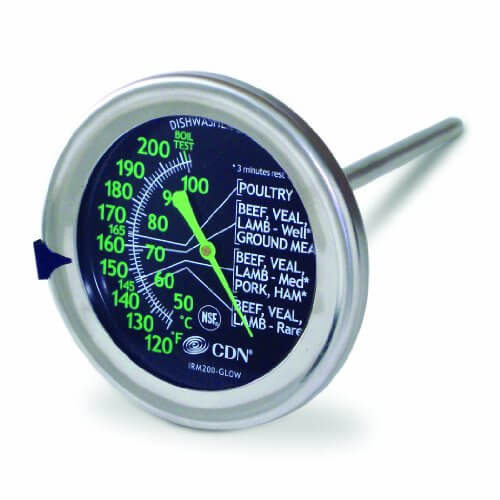 CDN IRM200-GLOW – ProAccurate Meat/Poultry Oven Thermometer-Extra Large Glow-in-the-Dark Dial-NSF Certified