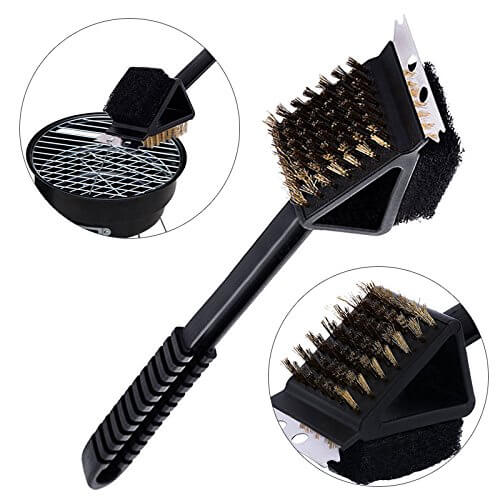 Heavy Duty 3 In 1 Bbq Grill Brush – Grilling Scraper & Barbecue Cleaning Sponge – All In One Smoking Brush Bbq Accessories Kitchen Tools