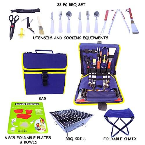 Barbecue Grilling Set with 22 Pieces including Grill Tools, Stainless Steel Flatware, Bowls, Grill and Chair – all Portable for Camping, Picnic, RV, with Carrying Case (Navy Blue)