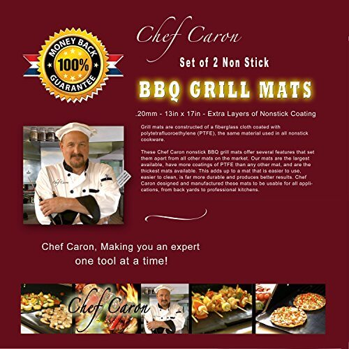 Chef Caron Non Stick BBQ Grill Mats – Set of 2 – for Gas, Charcoal, Pellet Grills – Magic Mat As Seen on TV – Large Professional Cooking Mat – Keep Your Barbecue Grate Clean – Grill the Un-grillable