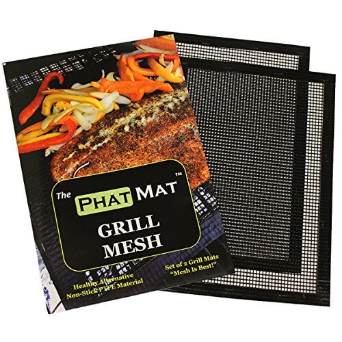 PhatMat BBQ Grill Mat Set of 2 – Heavy Duty Non Stick Grilling & BBQ Mesh-Best Accessories for Outdoor Traeger, Green Egg, Smoker-Food Doesn't Fall Through Grates – Easy to Clean – Grill Like a Boss