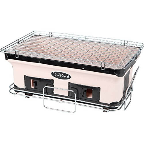 Fire Sense Tan/Brown Large Yakatori Adjustable ventilation and Large cooking surface Barbecue Charcoal Grill