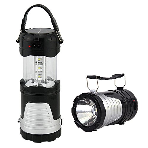 Operkey LED Camping Lantern Portable Outdoor Flashlight with Solar Panel, Camping Gear Handheld Flashlights 2-In-1 Camping Lights for Hiking, Camping , Emergencies, Hurricanes, Outages(1 pack)