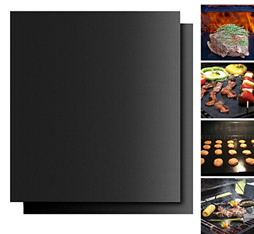 Grill Mats, 16 x 13 Inch Non-stick BBQ Grill & Baking Mats with FDA-Approved, PFOA Free, Reusable and Heat Resistant BBQ Grill Mat, Set of 2
