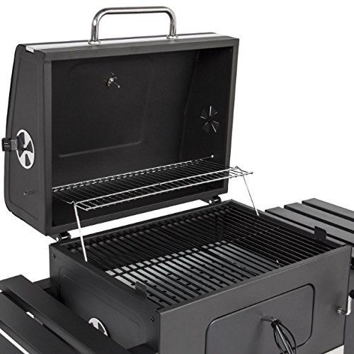 Premium Barbecue Charcoal Grill And Somker With 2 Foldable Shelves Bottom Storage Shelf Bottle Opener Outdoor Patio Deck Backyard Yard Dinner Party Camping Picnic BBQ Heavy Duty Steel Construction