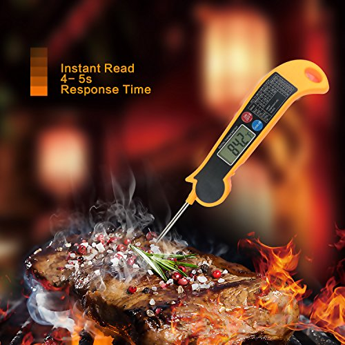 Digital BBQ Meat Thermometer with Collapsible Internal Probe, Super Fast Accurate Cooking Thermometer Electronic Kitchen Thermometer with Digital LCD- BBQ, Candy, Charcoal Grill, ect HET-F001 (orange)