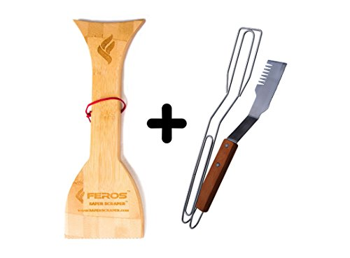 FEROS KIT – (2 items!) Safer Scraper Wood BBQ Grill Cleaner AND All Purpose Grilling Spatula and Tongs – Knife, Spatula, Tongs, Tenderizer, Fork all-in-one design!