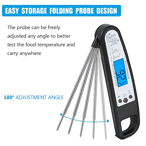 Meat Thermometer Instand Digital Read Cooking Thermometer with Foldable Long Stainless Probe and Blue Backlit LCD Screen for Roasts and Steaks Beef Pork Cooked Foods,Crill,BBQ,Candy,Milk Bath Water