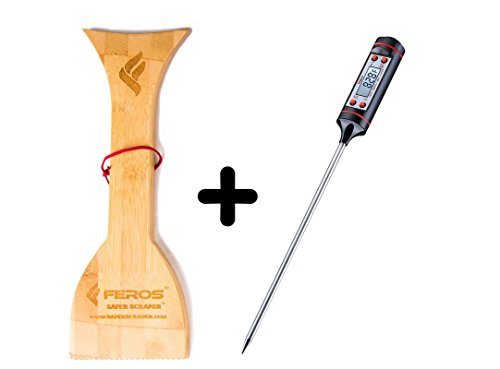 FEROS KIT – (2 items!) FEROS Safer Scraper Wood Grill Grate Cleaner AND Meat Thermometer Digital Cooking Thermometer with Instant Read, LCD Screen – Best for Kitchen, Grill, BBQ, Milk, and Bath Water
