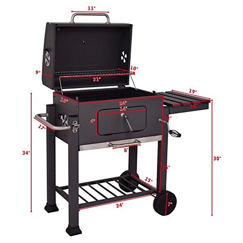 Charcoal Wood BBQ Grill Portable Rolling With 2 Wheels Folding Side Shelf 4 Tools Hook Outdoor Patio Deck Backyard Yard Dinner Party Camping Picnic Barbecue Cooking Meat Smoker Grilling Slow Smoking