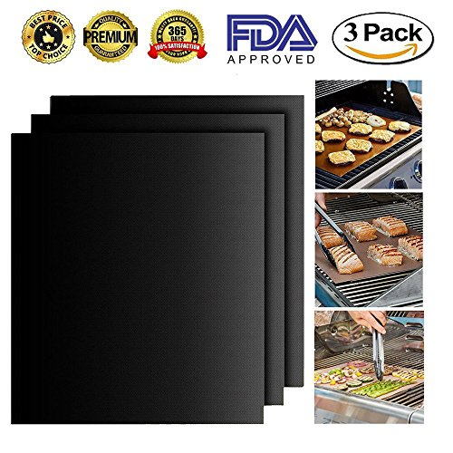 Grill Mat set of 3- 100% Non-Stick BBQ Grill mats-Heavy Duty,Reusable and Easy to Clean-for Charcoal,Gas or Electric Grill and More-16×13Inch
