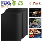 BestGreen BBQ Grill Mats and Bake Mats (6pcs) - 100% Non-stick FDA-Approved, PFOA Free, Reusable and Easy to Clean -Black grill mat (Black)
