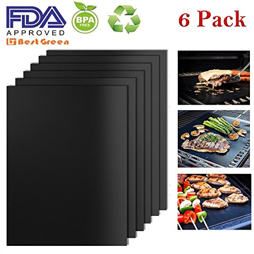 BestGreen BBQ Grill Mats and Bake Mats (6pcs) – 100% Non-stick FDA-Approved, PFOA Free, Reusable and Easy to Clean -Black grill mat (Black)